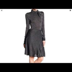 Eliza J Silver S-Tie Mock Neck Aline Dress. NWT